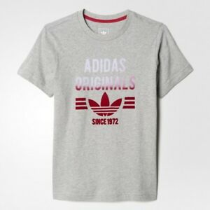 ADIDAS-ORIGINALS-GRIS-para-nina-Trebol-T-Camiseta-deporte-TOP-Varias-Tallas