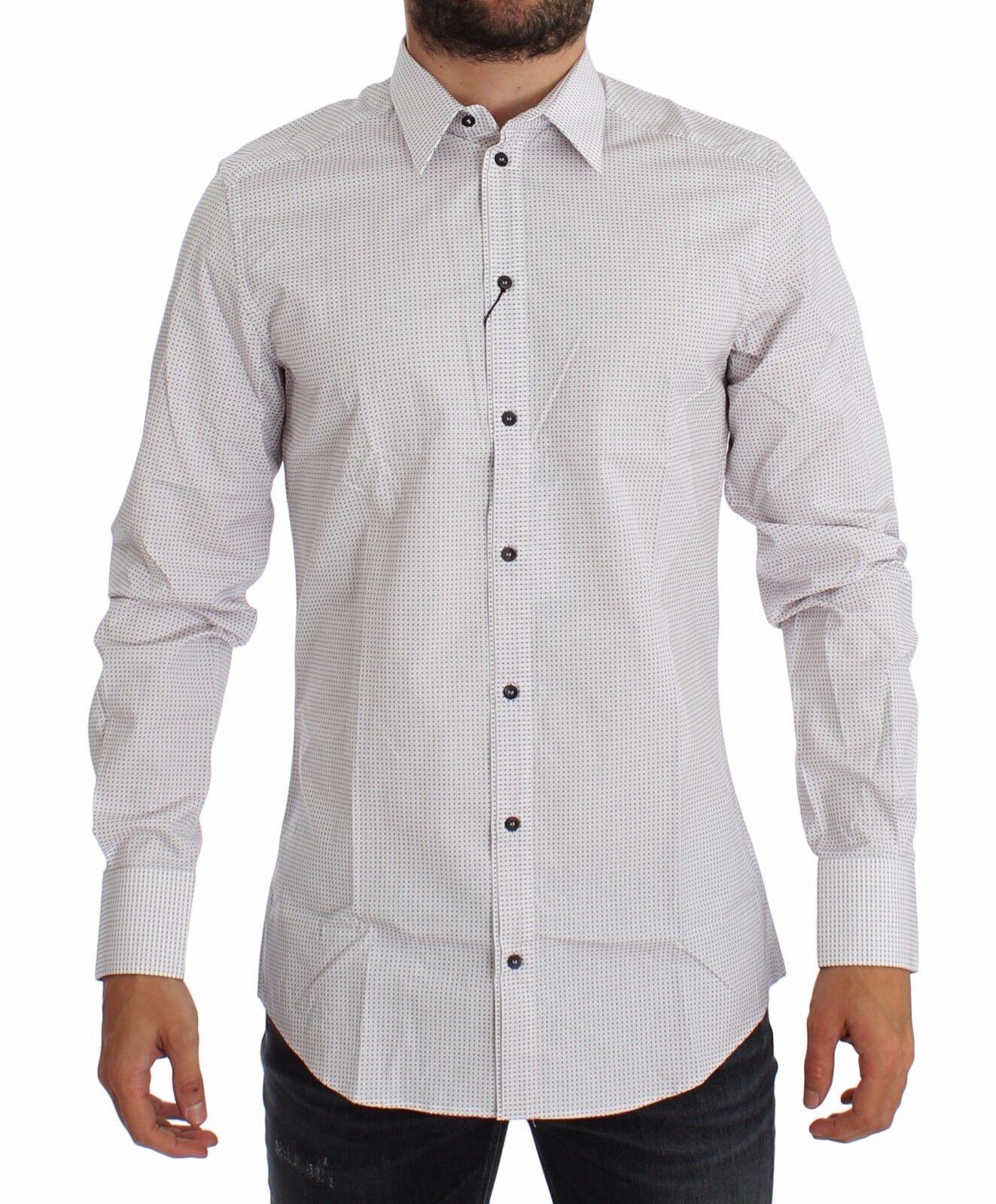 Nuova con Etichetta Dolce & Gabbana Bianco Oro Rosso Slim Camicia 38/US15 / XS