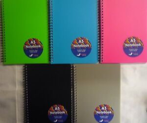 A5-Spiral-Polyprop-Cover-140-Page-Lightly-Lined-Notebook-Note-book-5-Colours