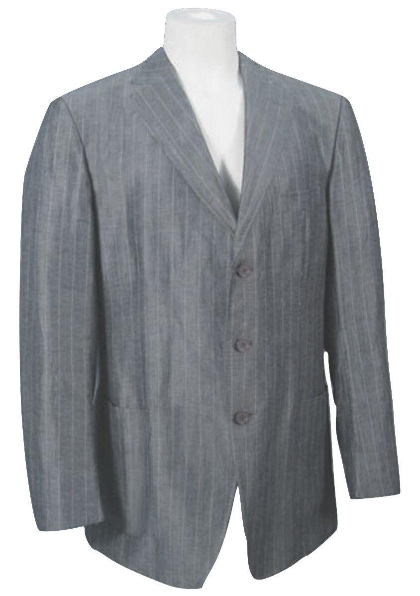 NEW Ermenegildo Zegna Sportcoat (Blazer)  US 48 e 58  grau Pinstripe  Silk Linen
