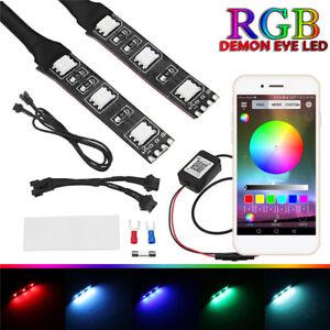 Universal-RGB-LED-Demon-Eye-Light-Kit-APP-Control-For-Car-Projector-Headlights