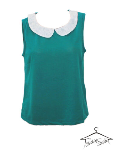 SIZE 12 /& 16 CODE LADIES//WOMEN/'S PARTY LACE COLLAR TOP,blouse TEAL COLOUR W 05