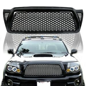 Black JDM Style ABS Mesh Front Upper Hood Grill fits for 05-11 Toyota Tacoma