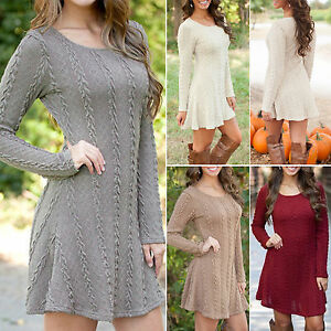 Women-Knit-Long-Sleeve-Dress-Skater-Pullover-Jumper-Sweater-New-Midi-Swing-Dress