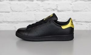 ADIDAS ORIGINALS STAN SMITH J bb0208 NERO CON ORO PELLE Scarpe da ginnastica