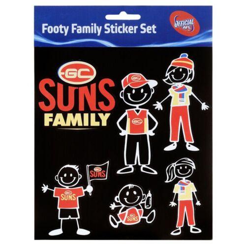 Licensed AFL Gold Coast Suns FAMILY Car Sticker Sheet Birthday Gift