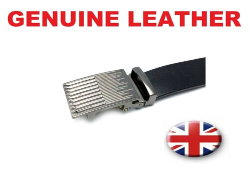 MENS REAL LEATHER AUTOMATIC BUCKLE STYLISH  SUIT TROUSER WAIST BELT FORMAL UK