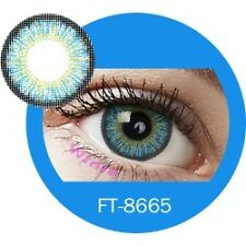 Lentilles de couleur bleu 3 tons FT8665 - blue color contact lenses