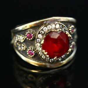 925-Sterling-Silver-Handmade-Gemstone-Turkish-Ruby-Ladies-Ring-Size-7-12