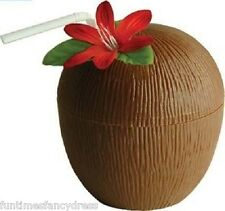 Hawaiian Beach Luau Party Coconut Flower Cup Tropical Cocktail Pina Colada Cup