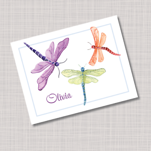Personalized Dragonfly Note Cards