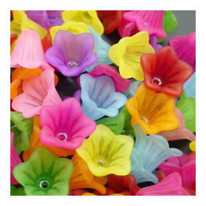 Mixed-Colour Lucite Beads Flower 10x15mm Pack Of 70+