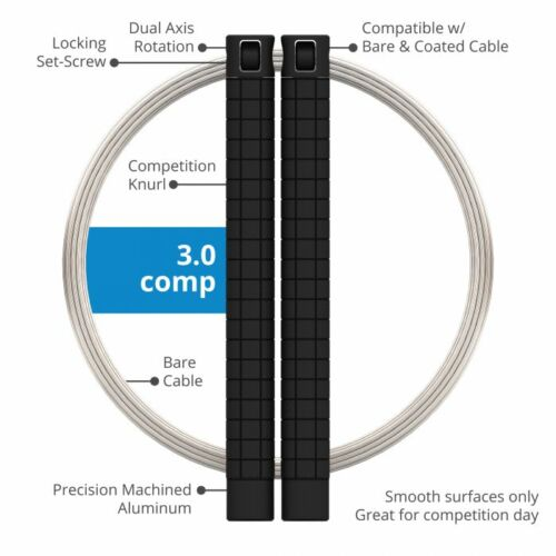 RPM FITNESS SPEED ROPE 3.0 COMP BLACK WITH BARE CABLE CROSSFIT