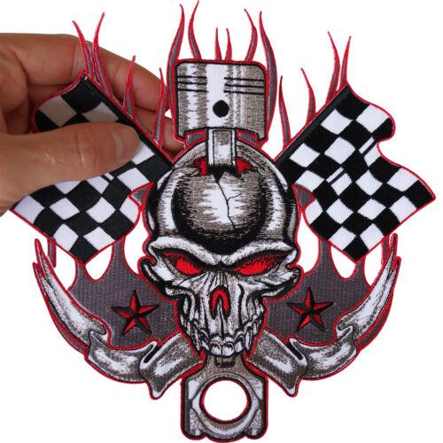 Iron On Bike Racing Flag Skull Patch Motorcycle Biker Jacket Badge Large Sew