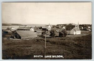South-Lake-Wilson-MN-Birdseye-View-Two-Churches-Livery-amp-Feed-Stable-RPPC-c1911