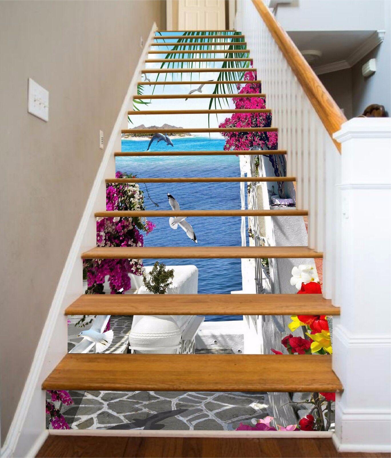 3D Seaside garden Stair Risers Decoration Photo Mural Vinyl Decal Wallpaper AU