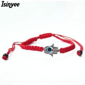 Red Lucky Bracelet Kabbalah Bracelet Red String Evil Eye Protection Hamsa Charm