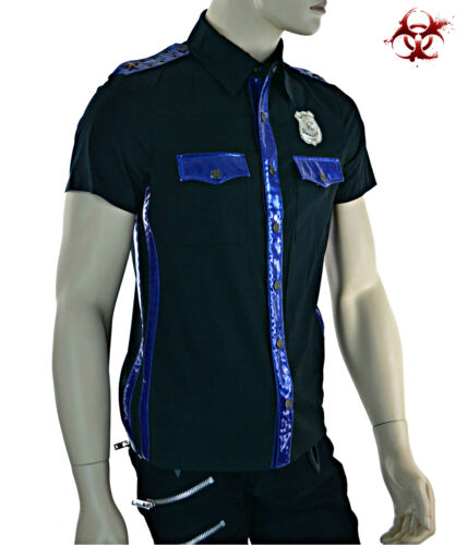 LIP SERVICE MOTO VINYL PVC UNIFORM POLICE COP FETISH GOTHIC JACKET SHIRT RAVE S