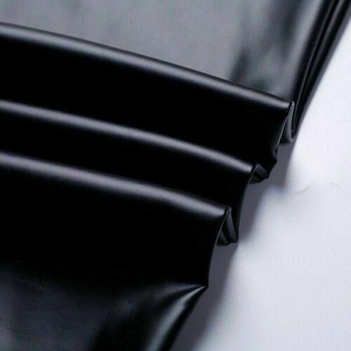 Herren Kunstleder Hose Schwarz PU Leggings Stretch Lack-Optik Hose Slim Fit