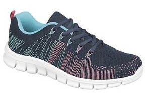 Dek FIRELIGHT Lace Trainer With Memory Foam Sock Running Shoes Navy/Fuchsia Text