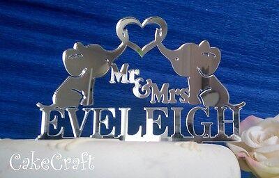 mariage fiançailles gâteau topper décoration Miroir acrylique éléphant anniversaire