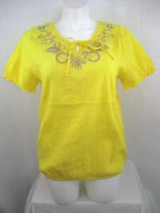 Lane-Bryant-Size-14-16-Yellow-ShortSleeve-Crinkle-Cotton-Embroidered-Peasant-Top