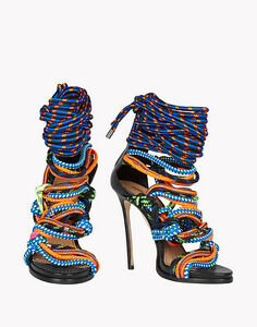 5d44c7d0e Details about Women s Colorful Mixed Color Rope Peep Toe Stilettos Cross Strappy  Sandals Shoes