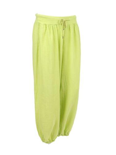 New Womens Italian Lagenlook Plain Linen Harem Elasticated Waist Cuff Trousers