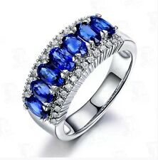Blue Sapphire Women 10KT White Gold Filled Jewellery Size 8