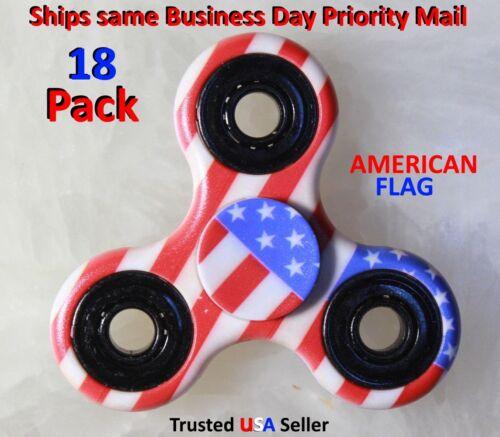 18 American FLAG CAMO HAND SPINNER TRI FIDGET EDC STRESS ADHD KIDS TOY WHOLESALE