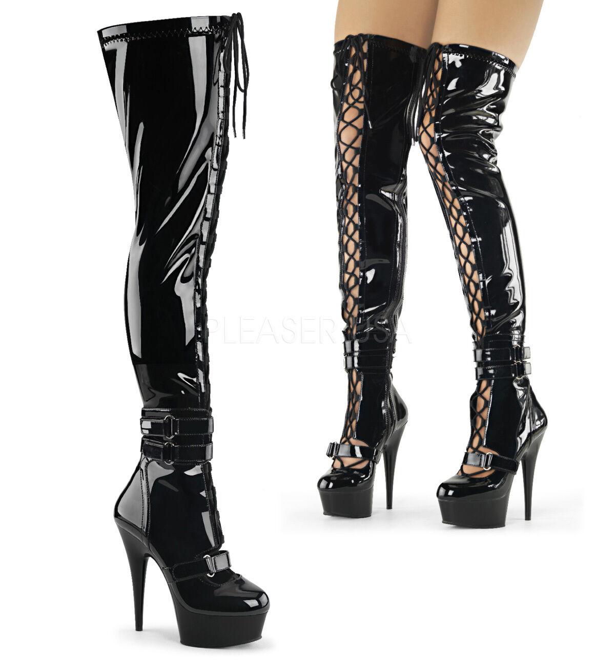 Delight Artena Black Matte or Patent Thigh High Boot Spike Heel Platform