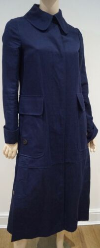 Blue Trench Navy Linen Cotton It40 Mac amp; Coat Women's Valentino Uk8 Collared EwqZ0xn4B1
