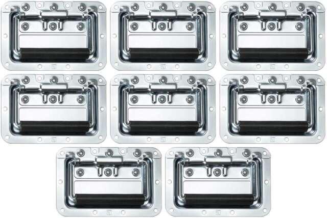 8 x Adam Hall 34082 Klappgriff mittel gefedert 8 mm Einbauschale Case Boxengriff
