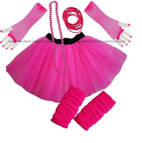 Dance School Neon 3 Layer Tutu Skirt Fishnet Gloves Legwarmers Beads Bangle