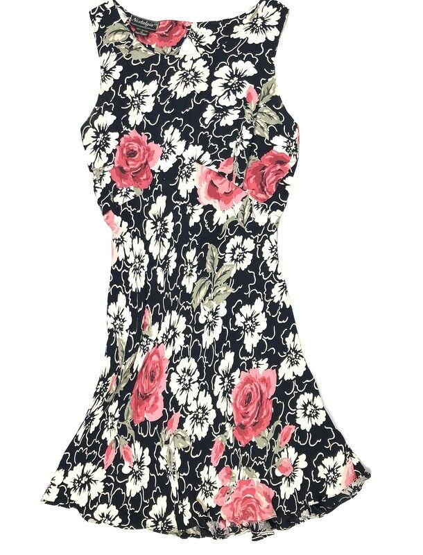 Nostalgia Woherren Medium Small VINTAGE 90s Floral Fit Flare Cut Out Dress f9p