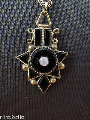 Exquisite Victorian Mourning? Onyx/Jet Camphor Glass/Moonstone Pendant