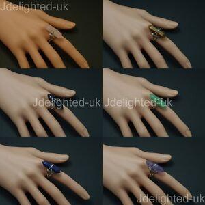 Natural-Gemstones-Hexagonal-Pointed-Reiki-Chakra-Beads-Adjustable-Ring-Healing