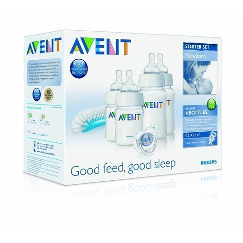 Philips Avent Newborn Baby Bottle Kit Brush Bottles Soother Starter Set