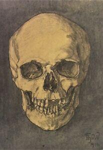 MEMENTO MORI Kohlestift Zeichnung dat. 1916 - sign. Th.vW.