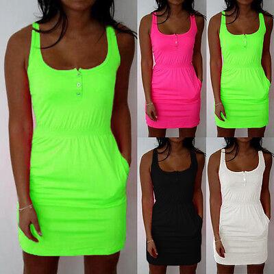 Womens Summer Casual Sleeveless Evening Party A-line Beachwear Mini Dresses Tops