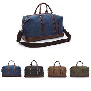3bba4afa56 Image is loading Men-Vintage-Genuine-Leather-canvas-duffle-bag-Shoulder-