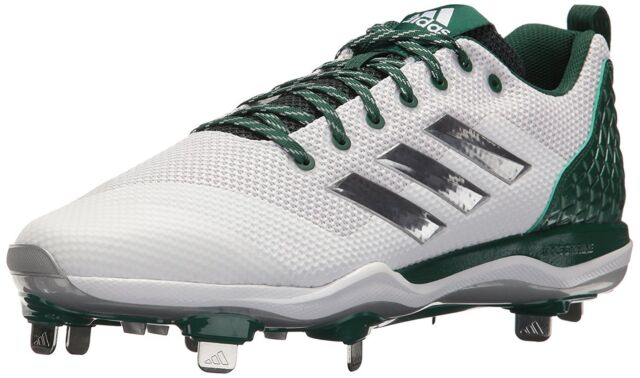lowest price 65122 ea78d Mens adidas PowerAlley 5 Baseball Softball Cleats Green White B39191 Sz 13.5