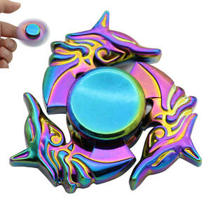 fuchs muster rainbow hand spinner fidget focus toy edc adhs stress gyro spin de ebay. Black Bedroom Furniture Sets. Home Design Ideas