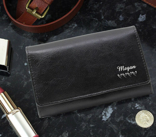 PERSONALISED NAME HEARTS LADIES GIRLS BLACK LEATHER PURSE WALLET BIRTHDAY GIFT