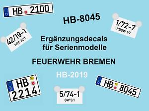 Mickon Ergänzungs Decals Feuerwehr Bremen passend für Herpa Busch Rietze 1:87 H0