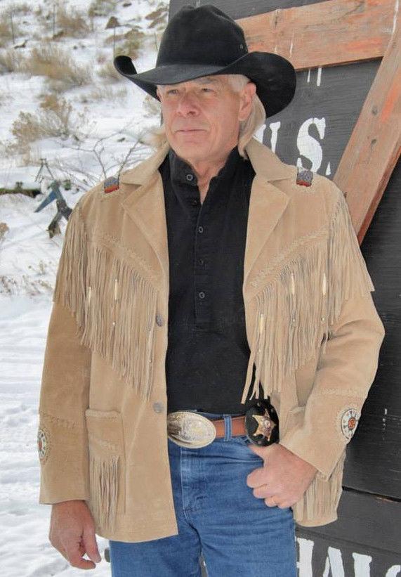 Herren Beige Suede Leder Coat American Cowboy Fringes and Beads Western Wear