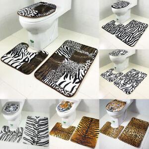 Animal-Print-Soft-Bath-amp-Toilet-Pedestal-Mat-Cover-3-Pieces-Bathroom-Mat-Set