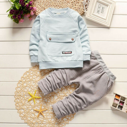 2PCS Kids Infant Baby Boy Outfit T-shirt Tops+Long Pants Fall Casual Clothes VW