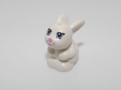 Lego White Bunny Rabbit Sitting with Blue Eyes