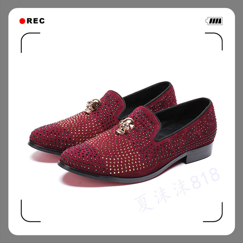 Uomo Rhinestone Leather Party Slip On Business Loafers Driving Formal Shoes size
